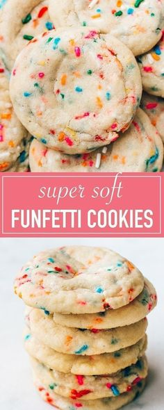 The Best Funfetti Cookies (Super Soft! The BEST recipe for soft funfetti sugar cookies. They are chewy, dotted with sprinkles, and have an amazing buttery vanilla flavor. Festive and perfect for birthdays! Sugar Cookies With Sprinkles, Chewy Sugar Cookies, Sprinkle Cookies, Sugar Cookies Recipe, Chocolate Chip Cookies, Cookies Et Biscuits, Shortbread Cookies, Simple Sugar Cookies, Simple Cookie Recipe