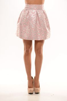 Foiled Puff Puff Skirt - Pink. Super cute fluffy skirt with foil detail and back zipper