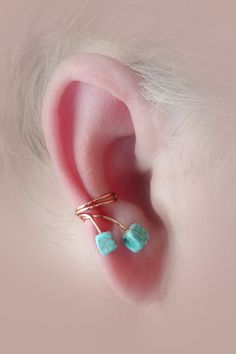 Ear Cuff Pair/Turquoise Wrap Around/Copper Wire/ by thelazyleopard, $15.00