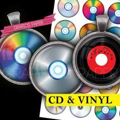 Vinyl Disk CD  digital collage sheet  td409  1.5 by GraphicsPaper