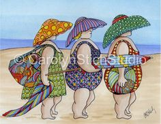 Artículos similares a The Girls on the Beach - Matted Print and Greeting Card by Carolyn Stich Studio en Etsy Rug Hooking Patterns, Quilt Patterns, Plus Size Art, Snoopy Christmas, Colorful Artwork, Whimsical Art, Beach Art, Painted Rocks, Art Drawings