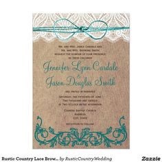 """Rustic Country Lace Brown Teal Wedding Invitations 5"""" X 7"""" Invitation Card"""