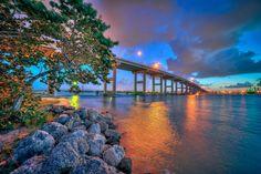 Fort Pierce South Causeway Bridge at Sunset.   Photo courtesy of Kim Seng | CaptainKimo.com