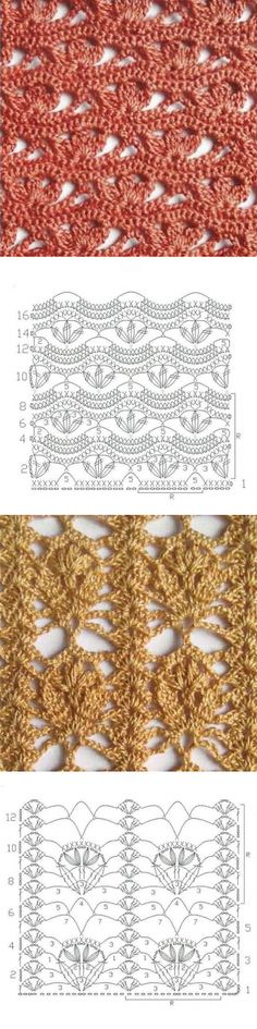 Ажурные узоры крючком Crotchet Stitches, Crochet Stitches Patterns, Thread Crochet, Crochet Designs, Stitch Patterns, Knitting Patterns, Knit Crochet, Crochet Symbols, Crochet Motifs