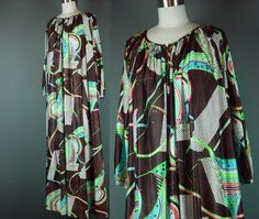70s Op Art Nightgown Lounger Vintage 1970s Sheer by mustangannees