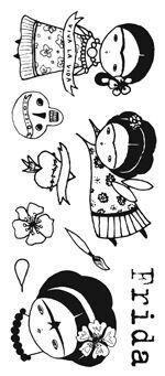 Viva la Vida by Danita - Frida Kahlo-Inspired Art Stamps Más Frida E Diego, Frida Art, Arte Popular, Mexican Art, Illustrations, Doll Patterns, Doodle Art, Fiber Art, Embroidery Patterns