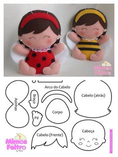 felt ladybug and bee dolls MásJoaninha/abelhinha - Marisa - Mimos de Felton what if we made one to represent each kid as an ornament on the tree?felt ladybug/bee girl pattern so pretty, nice as a brooch or charm for a bagvilt, gratis patronen, felt, Doll Crafts, Diy Doll, Sewing Crafts, Sewing Projects, Felt Patterns, Stuffed Toys Patterns, Craft Patterns, Felt Fabric, Fabric Dolls