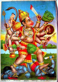 Hanuman kills Ahi and Mahi Ravi Varma Press, 1910 ( Image source ) Hanuman Images, Durga Images, Krishna Images, Hanuman Ji Wallpapers, Hanuman Chalisa, Radhe Krishna, Lord Rama Images, Baba Image, Hindu Mantras