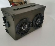 Ammo Can BlueTooth Boom Box : 4 Steps (with Pictures) - Instructables Bluetooth Speaker Box, Diy Speakers, Custom Woodworking, Woodworking Projects Plans, Homemade Speakers, Diy Boombox, Ammo Cans, Diy Box, Metal
