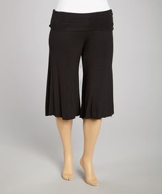 Take+a+look+at+the+Black+Cropped+Palazzo+Pants+-+Plus+on+#zulily+today!