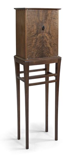 Krenov-Inspired Walnut Cabinet-on-Stand - Reader's Gallery - Fine Woodworking. Cabinet line this with carving Handmade Furniture, Fine Furniture, Furniture Projects, Wood Furniture, Wood Projects, Furniture Design, Furniture Plans, Intarsia Woodworking, Woodworking Toys