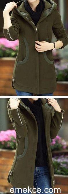 Army Green Zipper Up Long Sleeve Pocket Coat. Fall Winter Outfits, Winter Fashion, Modele Hijab, Mode Simple, Hijab Style, Fashion Outfits, Womens Fashion, Fashion Coat, Sweater Weather