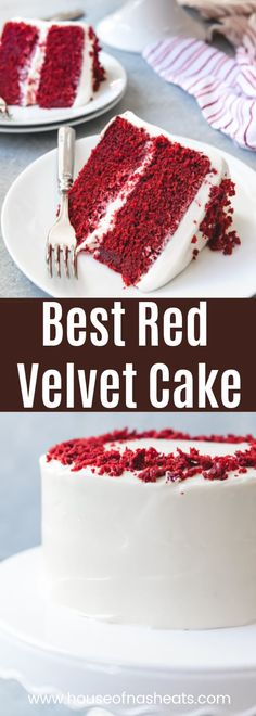 The best Red Velvet Cake has a unique flavor and tender, moist crumb that pairs wonderfully with a tangy, sweet cream cheese frosting. This is a classic cake recipe for a red velvet cake that is quite possibly the best red velvet cake recipe in th Homemade Cake Recipes, Best Cake Recipes, Cupcake Recipes, Cupcake Cakes, Dessert Recipes, Recipes Dinner, Layer Cake Recipes, Sweets Cake, Breakfast Recipes