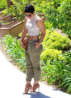 Forever 21 Cargo Pants & Lace Top - Mimi G Style