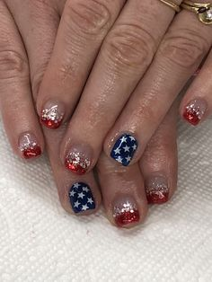 of July Glitter Ombré French Gel Nails Ombre French, Patriotic Nails, Gel Nail Designs, 4th Of July, Gel Nails, Glitter, Color, Nail Gel, Colour