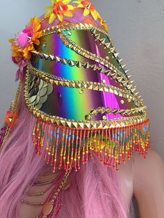 Sunset Disco Hippie Burning Man Face Shield/Visor Premade: