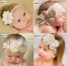 Diademas Vintage Valerinas Niña Bautizo Bebe Bandita De Moda - $ 170.00 Diy Headband, Lace Headbands, Cloth Flowers, Fabric Flowers, Hair Bow Tutorial, Baby Turban, Baby Clothes Patterns, Wedding Hats, Tutus For Girls