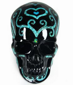 Black Obsidian with Turquoise Inlay Crystal Skull Sculpture