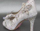 Wedding Shoes -- Ivory Peeptoes with Lace Overlay, Rhinestone Details, Rhinestone Butterflies and Pink Sole
