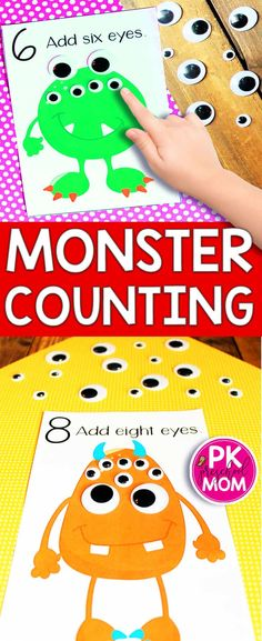 These free Monster Counting Mats bring fun and learning together for a highly engaging math activity. Your students will get a kick out this fun activity set, and they'll be learning as they… Monster Activities, Eyfs Activities, Nursery Activities, Math Activities For Kids, Preschool Learning Activities, Preschool Halloween Activities, Maths Eyfs, Preschool Education, Numeracy