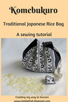 A Komebukuro is a Japanese cotton drawstring bag that was used to carry offerings of rice to Japanese temples or shrines. The w...