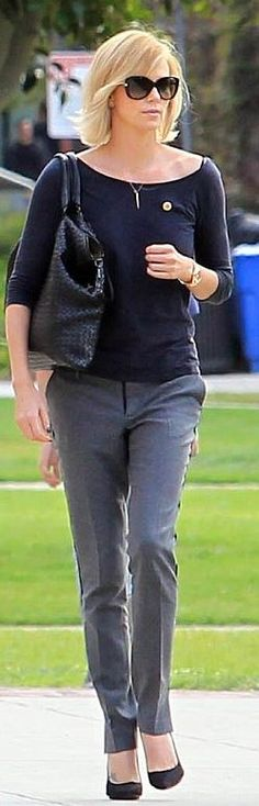 Who made Charlize Theron's black sunglasses, and woven handbag? (OutfitID)