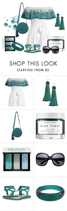 """""""Mara Hoffman Leaf-embroidered off-the-shoulder playsuit"""" by dgia ❤ liked on Polyvore featuring Mara Hoffman, Vanessa Mooney, Bamboo54, Herbivore, Bobbi Brown Cosmetics, Nine West and Avon"""