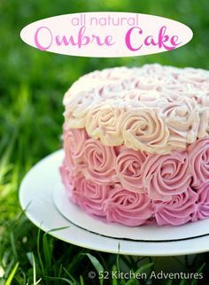 Love this and so easy. A cute version of my best friends gorgeous wedding cake. All Natural Ombre Rose Cake (no food coloring!)