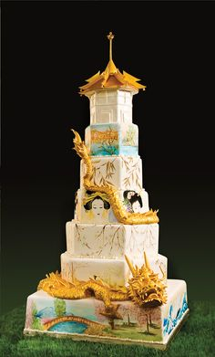 Golden dragon pagoda cake
