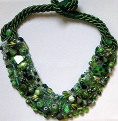 Shades of Green Collar Necklace on Etsy, $150.00