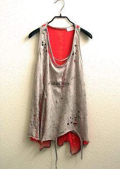 Reconstructed tank upcycled t shirt shredded tunic  by KayLim