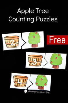 These apple tree counting puzzles are perfect for a back to school, fall, or apple theme with preschoolers or kindergarteners! Preschool Apple Theme, Fall Preschool, Preschool Lessons, Kindergarten Math, Math Activities, Preschool Activities, Preschool Apples, Apple Activities Kindergarten, Alphabet Activities