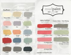 Mud Paint A New Line Of Paint Color Swatch Chart  #Antique #Creamy #Paint