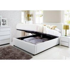 Sleep Emporium // Henley White Leather Ottoman Storage Bed - £319 for king