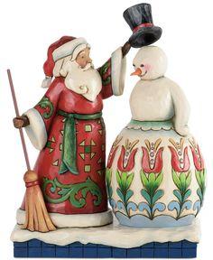 Jim Shore Collectible Figurine, Santa Making Snowman - Holiday Lane