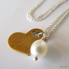 brass heart charm with fresh water pearl...heart and pearl necklace