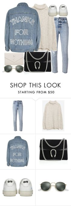 """""""Untitled #20938"""" by florencia95 on Polyvore featuring Golden Goose, Zara, River Island, Gucci, Off-White, Ray-Ban and Yves Saint Laurent"""