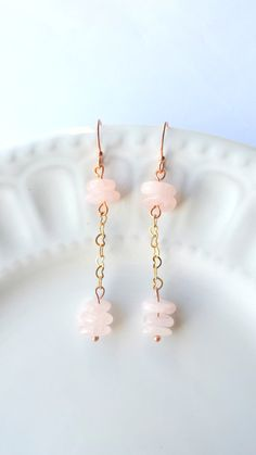Rose Gold Rose quartz earrings Pink earrings by SundarAndFrouFrou