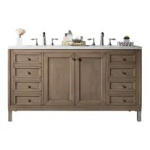 The Chicago 60 Double Sink Whitewashed Walnut vanity by James Martin Furniture is a wall-mount optional cabinet with mounting brackets and chrome finish legs. This cabinet features tip out drawers for added storage space. Double Sink Bathroom, Double Sink Vanity, Bathroom Sink Vanity, Vanity Cabinet, Bath Vanities, Master Bathroom, Double Sinks, Ikea Bathroom, Bathroom Furniture