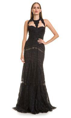 Robe longue, sequins, perles décoratives, dentelle noir roberto cavalli
