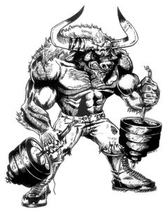 DeviantArt: More Like The Minotaur by victomon Rhino Tattoo, Gorilla Tattoo, Bull Tattoos, Taurus Tattoos, Bulldogge Tattoo, Strongest Animal, The Minotaur, Gym Logo, Cute Baby Bunnies