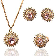 Julycoffee Swell 18k Gold Plated Flower Oval Pink Sapphire Wedding Gift for Women/girls Necklace Earrings Ring Jewelry Set B131 Julycoffee http://www.amazon.com/dp/B00KNJFEL8/ref=cm_sw_r_pi_dp_zMKKvb0QA8C4N