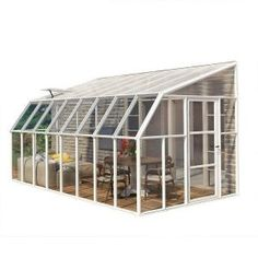 Rion Sun Room Lean to Greenhouse with polycarbonate glazing and white resin frame. Delivered free in 5 days by Greenhouse Stores. Diy Greenhouse Plans, Pergola Plans, Pergola Kits, Pergola Ideas, Pergola Designs, Lean To Greenhouse Kits, Greenhouse Kitchen, Outdoor Greenhouse, Large Greenhouse