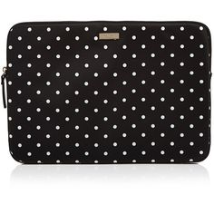 kate spade new york Classic Nylon Mini Pavilion Dot Zip 15 Computer... ($75) ❤ liked on Polyvore featuring accessories, tech accessories, kate spade, kate spade laptop case, laptop zip case and polka dot laptop case