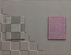 Samantha Bittman: Acrylic on Handwoven Textile (cotton) and custom digitally printed wallpaper Razzle Dazzle, Print Patterns, Hand Weaving, Textiles, Embroidery, Wallpaper, Artwork, Prints, Grid