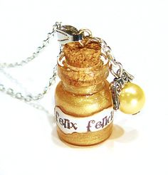 Glasfläschchen Halskette ♥Felix Felicis♥ Harry P.