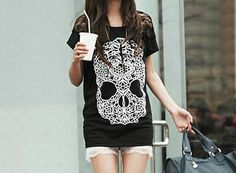 Casual Scoop Neck Lace Embellished Skull Pattern Short Sleeve Women's T-shirt (LIGHT GRAY,ONE SIZE) | Sammydress.com