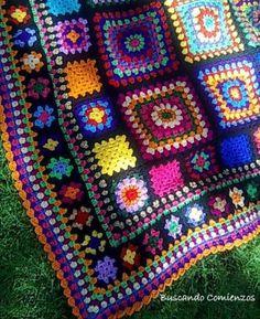 Ideas Crochet Afghan Squares Patchwork Blanket Knitting Patterns For 2019 Crochet Squares Afghan, Crochet Quilt, Granny Square Crochet Pattern, Crochet Granny, Crochet Blanket Patterns, Crochet Motif, Granny Squares, Knit Patterns, Crochet Afghans