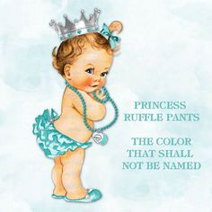 Princess Ruffle Pants Turquoise Teal Blue | Vintage Baby Girl | Crown Pearl Necklace | 3 Skin Tones 5 Hair Colors | Clipart Instant Download
