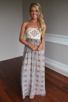 Ethnic Print Strapless Maxi Dress – The Pulse Boutique